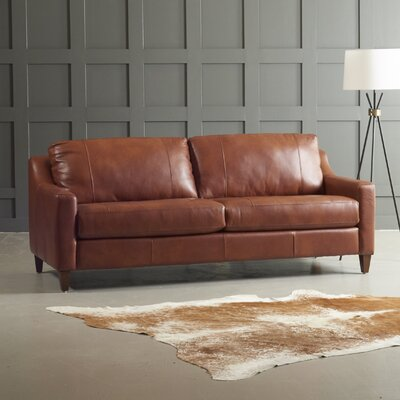 Jesper Leather Sofa Body Fabric: Steamboat Driftwood, Leg Finish: French Oak
