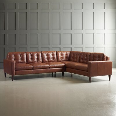 Sectional Body Fabric: Steamboat Chestnut, Leg Finish: French Oak, Sectional Orientation: Right Hand Facing