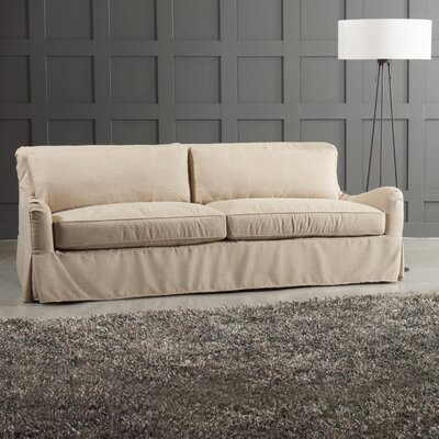 Arly Sofa Leg Finish: Black Walnut, Body Fabric: Tibby Linen