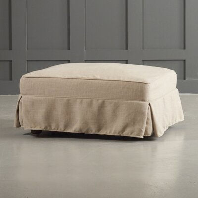 Arly Ottoman Body Fabric: Tibby Linen, Leg Finish: Black Walnut