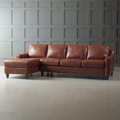 Jesper Leather Sectional Body Fabric: Steamboat Charcoal, Leg Finish: Black Walnut, Sectional Orientation: Right Hand Facing