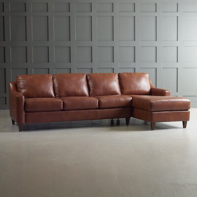 Jesper Leather Sectional Body Fabric: Steamboat Charcoal, Leg Finish: Ebony, Orientation: Right Hand Facing