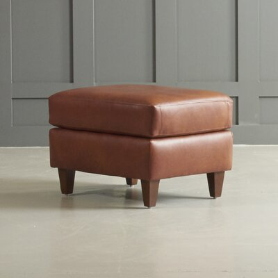 Jesper Leather Ottoman Leg Finish: Black Walnut, Body Fabric: Steamboat Chestnut
