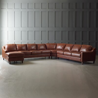 Jesper Sectional Body Fabric: Steamboat Chestnut, Leg Finish: French Oak, Orientation: Left Hand Facing