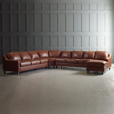 Jesper Sectional with Chaise Upholstery: Steamboat Chestnut, Finish: French Oak, Orientation: Right Hand Facing