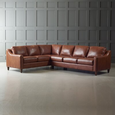 Jesper Sectional Leg Finish: Black Walnut, Body Fabric: Steamboat Chestnut, Orientation: Right Hand Facing
