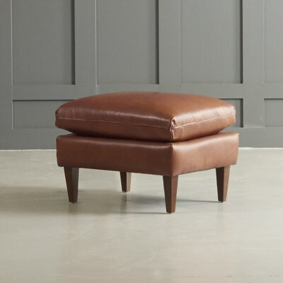 Florence Leather Ottoman Leg Finish: Black Walnut, Body Fabric: Vintage Ash