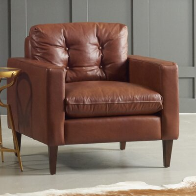 Florence Leather Club Chair Body Fabric: Steamboat Charcoal, Leg Finish: French Oak