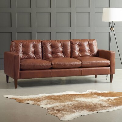 Leather Sofa Body Fabric: Steamboat Chestnut, Leg Finish: French Oak