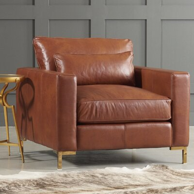 Maxine Leather Armchair Body Fabric: Steamboat Charcoal, Leg Finish: Brass