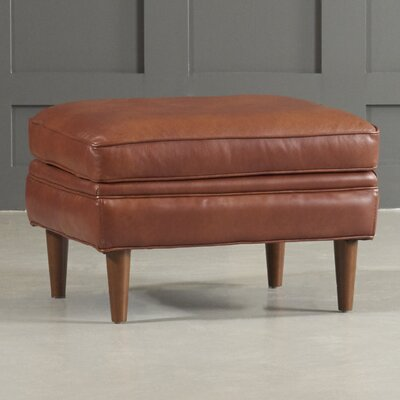 Bedford Leather Ottoman Leg Finish: Black Walnut, Body Fabric: Vintage Flagstone