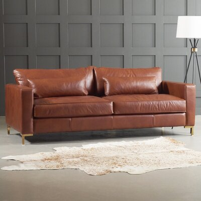 Maxine Leather Sofa Body Fabric: Steamboat Driftwood, Leg Finish: Brass