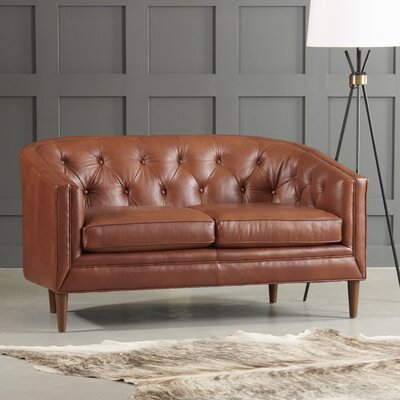 Bedford Leather Loveseat Body Fabric: Steamboat Driftwood, Leg Finish: French Oak