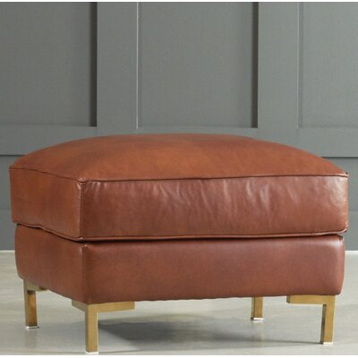 Spencer Leather Ottoman Body Fabric: Steamboat Charcoal, Leg Finish: Bronze