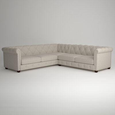 Keegan Sectional Upholstery: Nobletex Platinum, Orientation: Right Facing