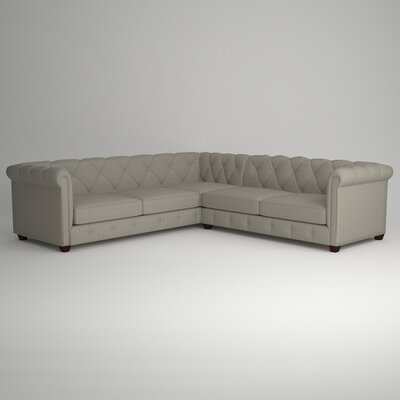 Keegan Sectional Upholstery: Messenger Tuxedo, Orientation: Right Facing