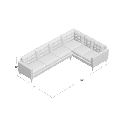 Sectional Body Fabric: Vintage Ash, Leg Finish: French Oak, Sectional Orientation: Right Hand Facing