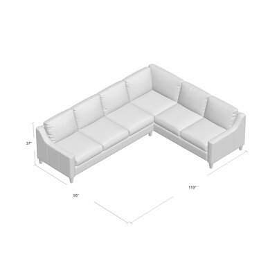 Jesper Sectional Body Fabric: Steamboat Charcoal, Leg Finish: French Oak, Sectional Orientation: Right Hand Facing