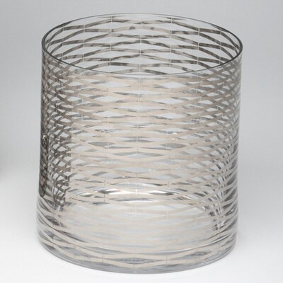 Silver Ribbons Glass Vase Size: 7.25 H x 7 W x 7 D image