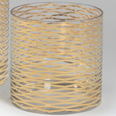 Gold Ribbons Glass Vase Size: 7.25 H x 7 W x 7 D image