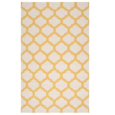 Hand Woven Wool Ivory/Yellow Area Rug Rug Size: Rectangle 3'6