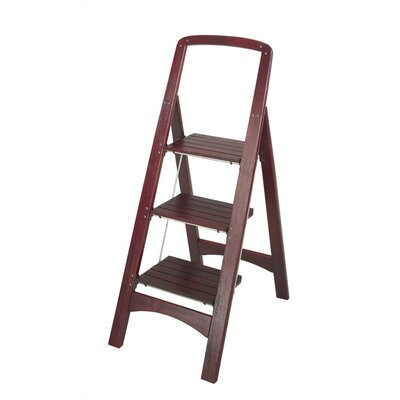 Cosco Home And Office Rockford 3-step Wood Step Stool With 225 Lb. Load Capacity