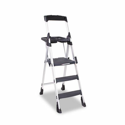 Worlds Greatest Three-Step Folding Step Stool, Aluminum/Poly Resin, Black