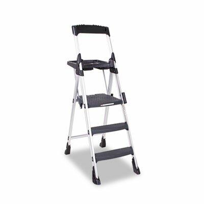 Worlds Greatest Three-Step Folding Step Stool, Aluminum/Poly Resin, Black