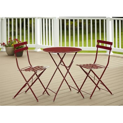 3 Piece Bistro Set Finish: Maroon