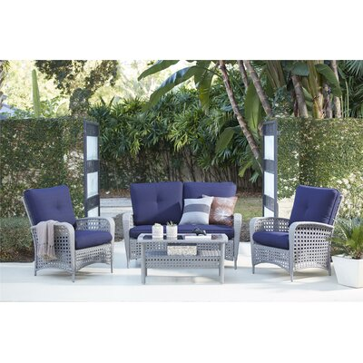 Lakewood Ranch 4 Piece Sofa Seating Group Frame Finish: Gray