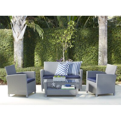 Feltonville 4 Piece Deep Seating Group with Cushion Finish: Gray/Navy
