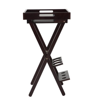 Wood Folding Floor Wine Rack with Removable Tray