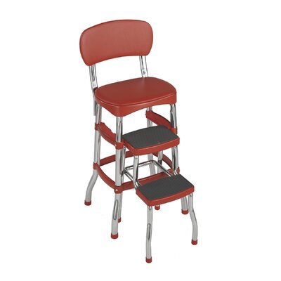 Retro Bar Stool with Cushion Color: Red