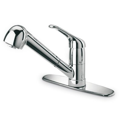 Single Handle Deck Mounted Kitchen Faucet with Pull-Out Spray Finish: Chrome