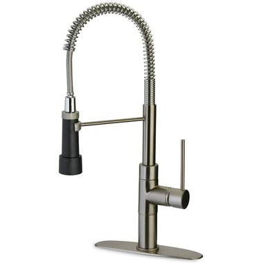 Elba Single Handle Deck Mount Kitchen Faucet with Spring Spout Finish: Brushed Nickel