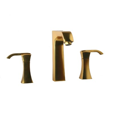 Lady Double Handle Deck Mount Widespread Lavatory Faucet with Drain Assembly Finish: Satin Gold