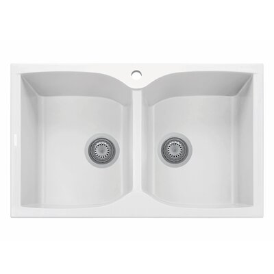Corax Sereis 35 x 20 Double Basin Kitchen Sink Finish: Milk White