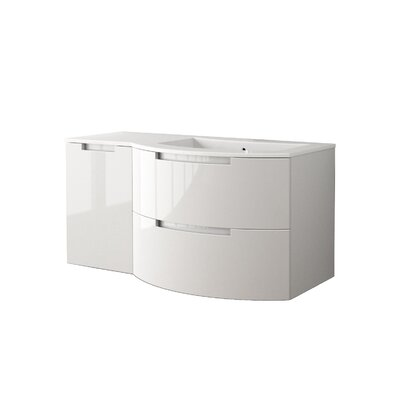 Oasi 53 Single Left Side Cabinet with Shelf Vanity Set Base Finish: White