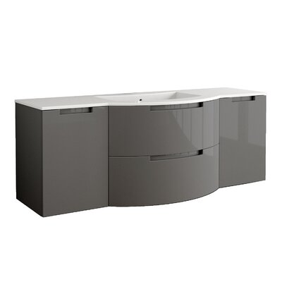 Oasi 57 Single Left and Right Side Cabinets with Shelf Vanity Base Finish: Slate