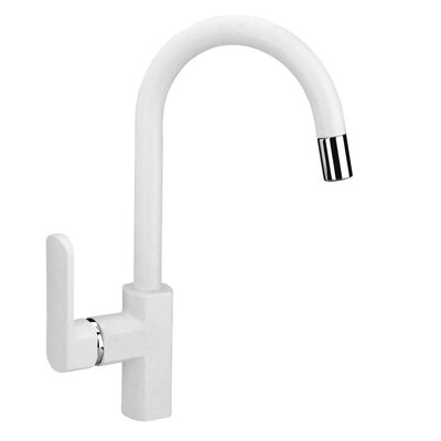 Single Handle Deck Mounted Pull Down Bar Faucet Finish: Milk White