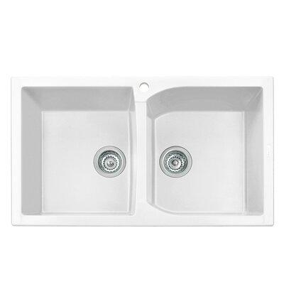 Corax Series 38 x 19 Double Kitchen Sink Finish: Milk White