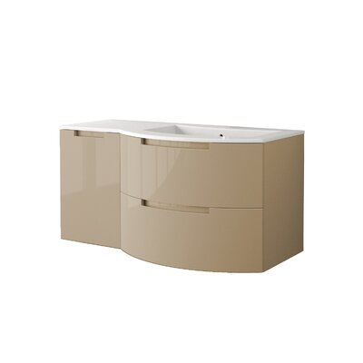 Oasi 43 Single Left Side Cabinet with Shelf Vanity Base Finish: Sand