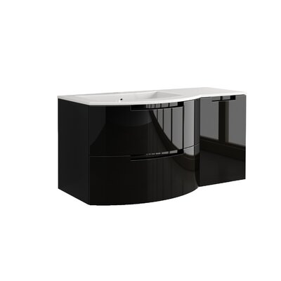 Oasi 53 Single Right Side Cabinet with Shelf Vanity Set Base Finish: Black