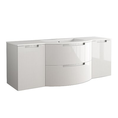 Oasi 57 Single Left, Right Side Vanities and Shelf Vanity Base Finish: White