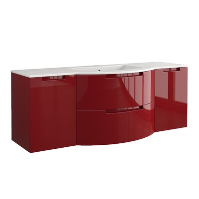 Oasi 57 Single Left and Right Side Cabinets with Shelf Vanity Base Finish: Red