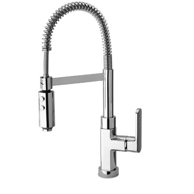 Novello Single Handle Deck Mounted Kitchen Faucet with Spring Spout Finish: Brushed Nickel