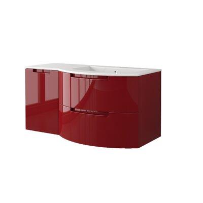 Oasi 43 Single Left Side Cabinet with Shelf Vanity Base Finish: Red