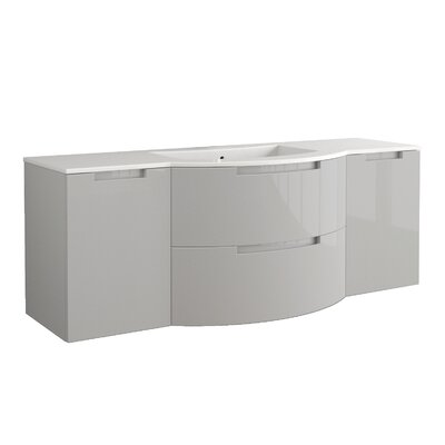 Oasi 57 Single Left, Right Side Vanities and Shelf Vanity Base Finish: Grey