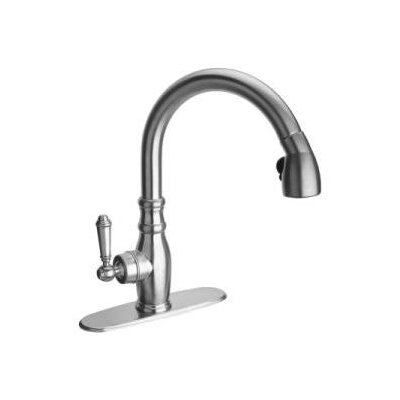 Old Fashion Single Handle Deck Mounted Kitchen Faucet with Pull-Down Spray Finish: Chrome