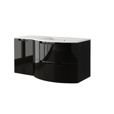 Oasi 53 Single Left Side Cabinet with Shelf Vanity Set Base Finish: Black